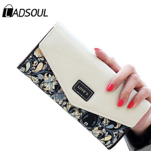 LADSOUL fashion leather women wallets good quality women bags ID card holders long style purse bolsa wallet coin keeper hl8443/h