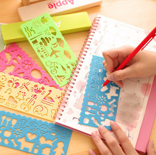 4 Pcs/lot 2016 New Style Creative Carton Drawing Rulers School Tools For Students Cute Plastic Spirograph Ruler