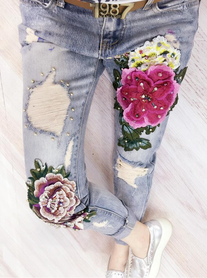 2017 fashion 3D Flowers Embroidery Flower Denim Jeans Women Skinny Pencil Pants With Ripped s670Îäåæäà è àêñåññóàðû<br><br>