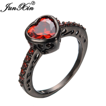 JUNXIN Red Jewelry Red Heart Style Black Gold Filled Ring Vintage Women Engagement Birthday Gift Ring Bijoux Top Quality