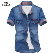 YK UNCLE Brand Clothing UK Flag Embroidery Cowboy Cool Men's Shirts Double Pocket Decoration back Embark Britain flag Boy Shirt(China)