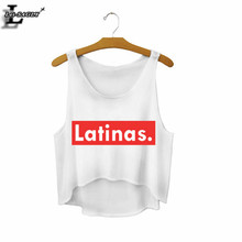 "2018 ""Latinas."" Summer Style Sexy Crop Top Cropped Fashion Mujer Fitness Women Comfortable Tank Tops Cheap Clothes China F671(China)"