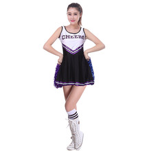 Vocole Girls Cheerleader Costume Hight School Girl Musical Cheerleading Uniform Fancy Dress Sleeveless Mini Dress Outfit XS-XL
