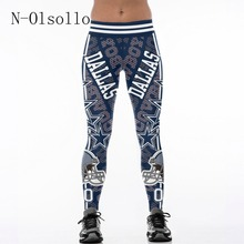 N-olsollo America Apparel 3D Footballs Team Print Sporting Leggings High Waist Skinny Sexy Leggins Adventure Time Jogger Jegging(China)