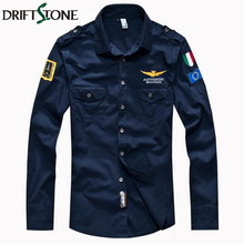 Man Airborne Flight Navy Blue Army Shirt Men's Military Air Force Pilot Shirt Cotton Embroidery Long Sleeve Tactical Shirts