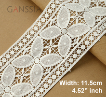 1yard/lot Width:11.5cm Fancy design cotton lace trims Ivory color water soluble embroidered lace Garment accessories(ss-6794)