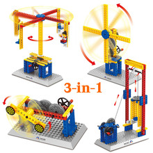 3 in 1 Mechanical Engineer Building Blocks Teaching Aid Toys Windmill Merry Go Round Lift Toys Wange Educational Toys(China)