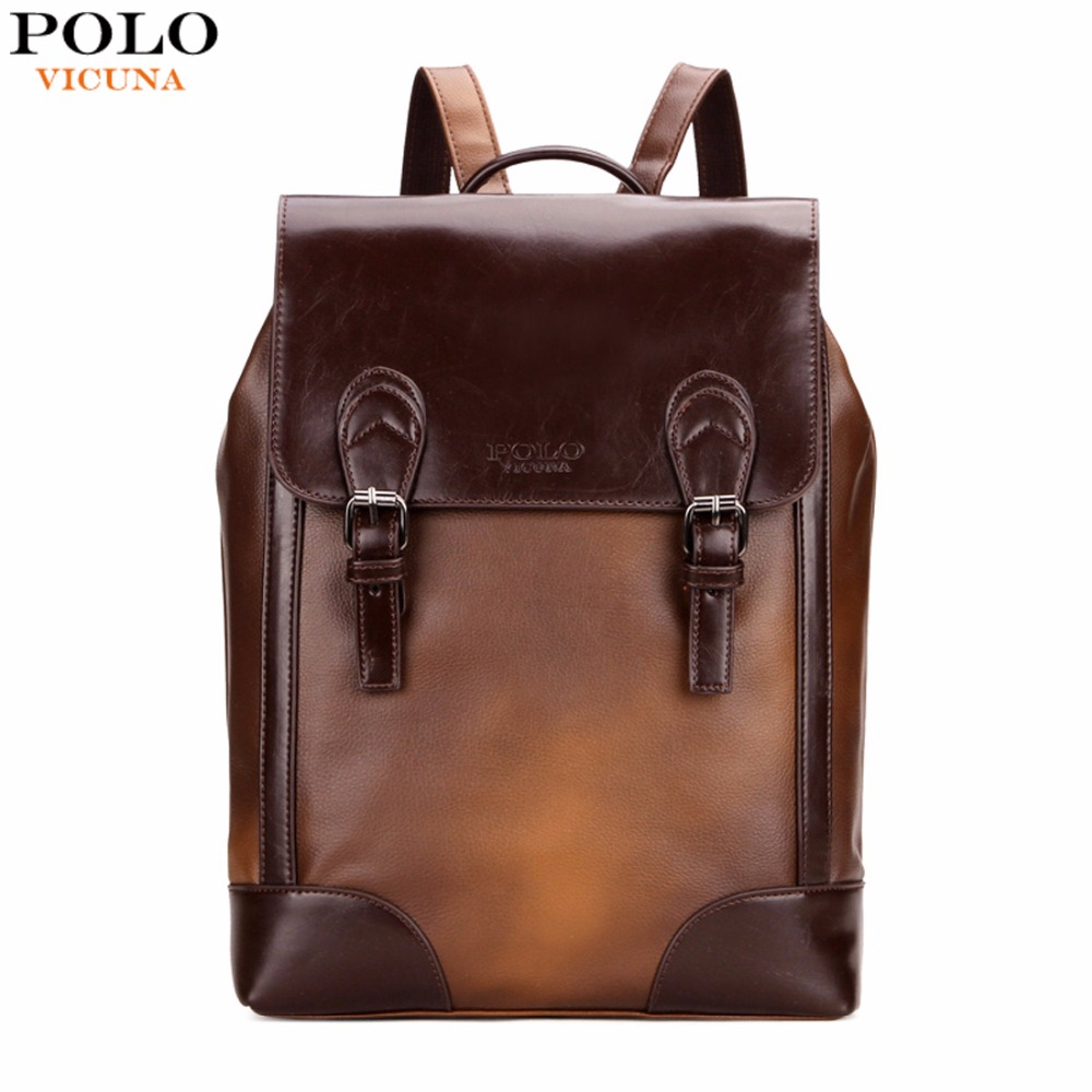 VICUNA POLO Vintage Gradient Brown Color Mens Leather Backpack Preppy Unisex School Backpack For College Stylish mochilas male<br>
