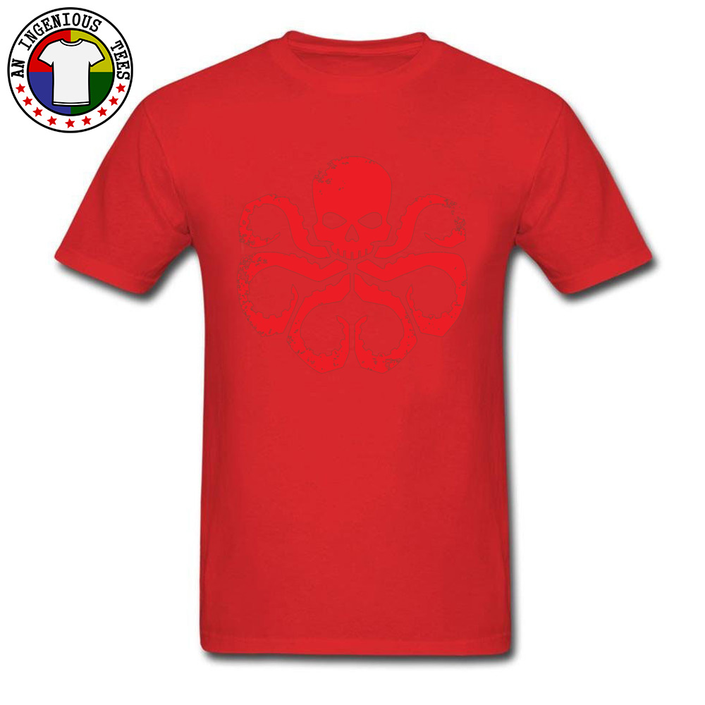 Slim FitCustom Short Sleeve T Shirt Summer Classic O Neck 100% Cotton T Shirt Men Tshirts HYDRA Badge - Red -5003  HYDRA Badge - Red -5003 red