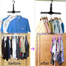 Multifunction Space Saver Folding clothes hanger Black Fold Hanger Closet Organizer Storage Holders Classified Drying Holders(China)