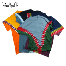 VORAGEM Men's Summer Handmade Hip Hop Tie Dye T Shirt Skateboard Vintage Locomotive Cotton T-shirt Hipster Tops Streetwear(China)