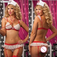 Buy Hot sexy lingerie hot women teddy sexy open crotch bra lingerie sexy costume nurses uniforms temptation suit without sock 40056
