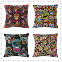 Halloween Sugar Skull Decorative Pillows For Sofa Wedding Decoration Housse Coussin Cushion Cover Vintage Home Decor Pouf e1305