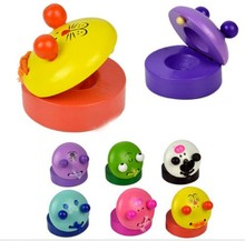 1Pc Music Wooden Castanets Instruments For Kids Gift 1 Pcs Cute Cartoon Shaped Castanets Kids Toys(China)