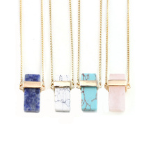 Gold Geometric Pink Crystal Quartz Cube Stone Pendant Necklace Women Trendy Jewelry Wholesale N3218