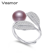 VEAMORE Pearls 4 Color Pearl Ring Pave Setting Zircon Leaves Design Fashion Statement Cocktail Ring Ladies Gift(China)
