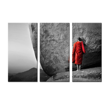 FREE SHIPPING 3 Panel Modern Monk dressed in Red Robes pray to stone Landscape Zen Buddhism Picture Printed on Canvas  Artwork