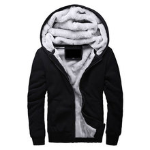 Hot Sale Men's Hooded Casual Brand Hoodies Clothing Wool Liner Mens Winter Thickened Warm Coat Male M-4XL Sweatshirts Outwear(China)