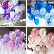 cheap 100pcs 10'' 1.2g Round Shape Latex Pearl Balloons Party Decorate Valentine's Day Happy Birthday Wedding Decoration Ballon(China)