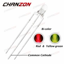 CHANZON 100pcs 3mm LED Red Yellow Green Common Cathode 3 mm Transparent Round Bi-Color Light-Emitting Diode Light DIY Components