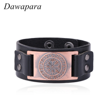 Dawapara Helm of Awe Nordic Rune Charm Bracelet Cuff Bangle Leather Chain Adjustable Clasp Women Brand Name Jewelry(China)