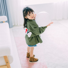 Hooded Baby Girl Windbreaker Children Letters And Heart Print Army Green Kids Outwear And Jacket Shaped Waist Toddler Girl Coat(China)