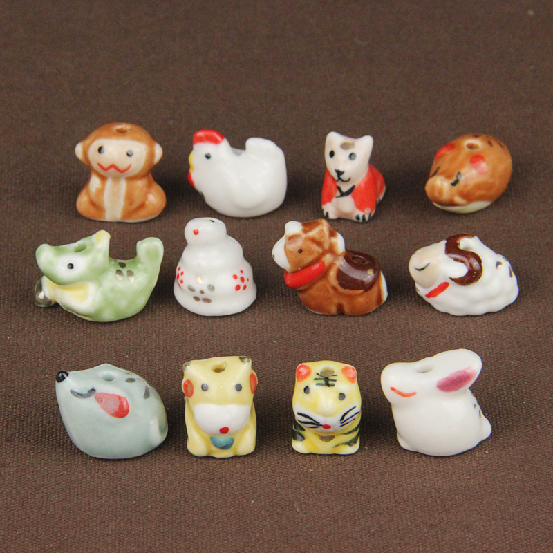 5pcs Handmade Chinese Cat Style Porcelain Beads 10mm Jewellery Making