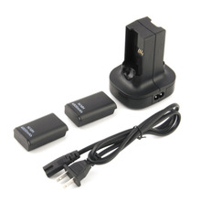 2pcs 4800mAh Rechargeable Battery + Charging Station Charger Dock For Xbox 360 YKS