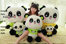 stuffed toy green or yellow cloth panda plush toy throw pillow Christmas gift h237(China)