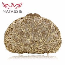 NATASSIE New Women Shell Shaped Luxury Crystal Evening Handbag Wedding Party Clutch Bag Diamonds Orange Gold Silver LX010(China)