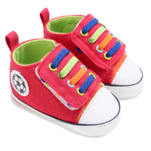 2017 Newborn Baby Shoes Baby Boy Girl High Top Canvas Sneakers Infant Toddler Antislip Soft Sole Baby Shoes Red 0-12M