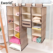 Eworld Cells Creative Clothes Hanging Drawer Box Underwear Sorting Storage Wall Wardrobe Closet Organizer Shelves Organizadores(China)