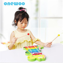 Eight Scale Piano Beat Toys Child Baby Dinosaur Hand Piano Toys Children Wooden Octave Hit Piano Puzzle Musical Instruments Toys(China)