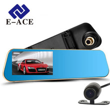E-ACE Car Dvr Rearview Camera Mirror Auto Dashcam Video Recorder Automobile Full HD1080P Camcorder  Dual Camera Lens Registrator