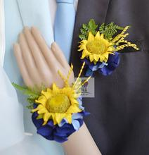 Free shipping yellow royal blue silk sunflower wedding wrist corsage flowers party corsages prom(China)