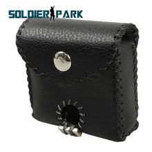 Genuine Leather Portable Molle Slingshot Ammo Pouch Stainless Steel Balls Holder Case Mud Eggs Bag Bullet Holster for Shooting@