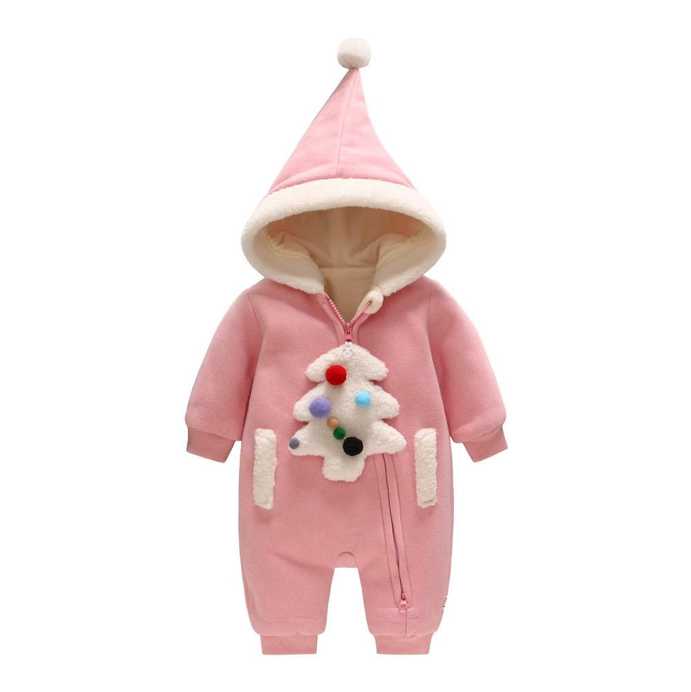 2017 autumn and winter baby suits newborns thickening warm hooded jeans baby out climbing climbing color Christmas tree L286<br>
