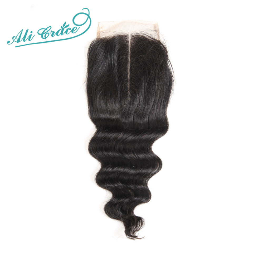 ALI GRACE Hair Brazilian Loose Wave 4*4 Middle Part Closure 120% Destiny Swiss Lace 10-20 Inch Remy Human Hair Natural Color(China)