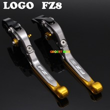 Laser Logo(FZ8) Gold+Titanium New CNC Folding Extendable Motorcycle Brake Clutch Levers For Yamaha FZ8 2011 2012 2013 2014 2015