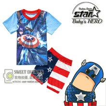 Children Pyjamas Summer Captain America Minions Spiderman Kitty Boys Pajamas for Girls Short Sleeve Kids Pijamas Sleepwear
