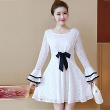 New 2018 Spring fashion female flare sleeves cute Lace Dress pinched waist elegant party beautiful temperament vestidos L-XXXXL(China)