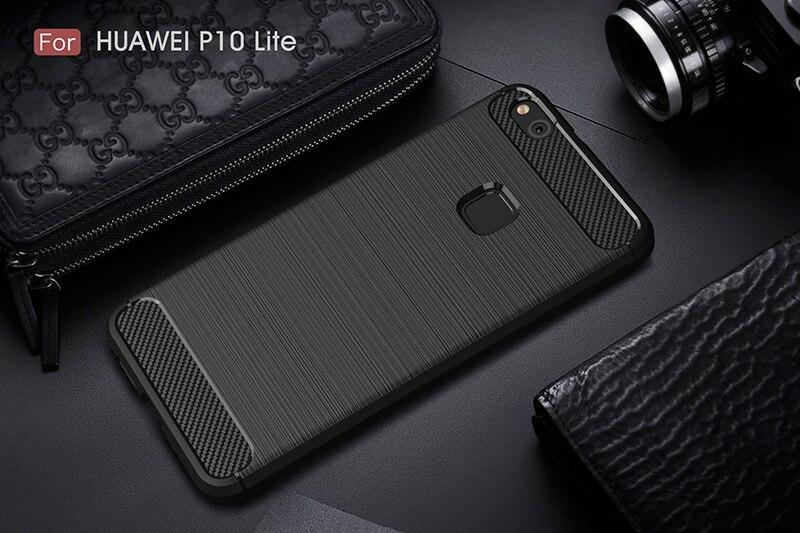 carbon fiber brushed silicone case huawei P10 Lite (10)