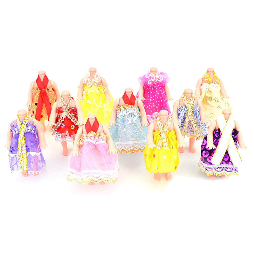 2017 New 5PCS Gown Party Dresses Fashion Wedding Dress Clothes Accessories for Barbies Doll Girls Gifts Random Colors