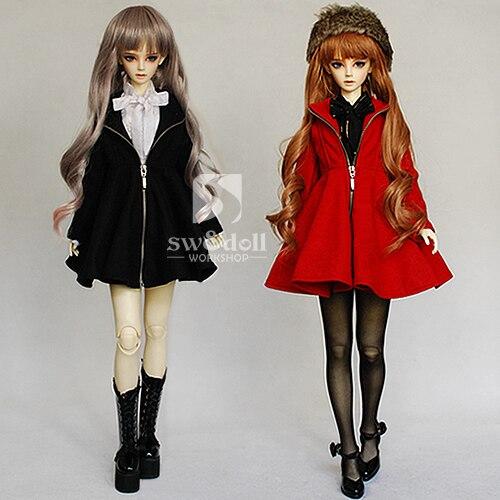 Free Shipping,1/3 Bjd clothes Zipper dress coat  red/black <br>