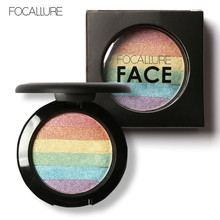 Focallure Fashion Rainbow Highlighter Makeup Art Maquiagem Eyeshadow Palette Cosmetic Blusher Shimmer Bronzer Highlighter Powder(China)