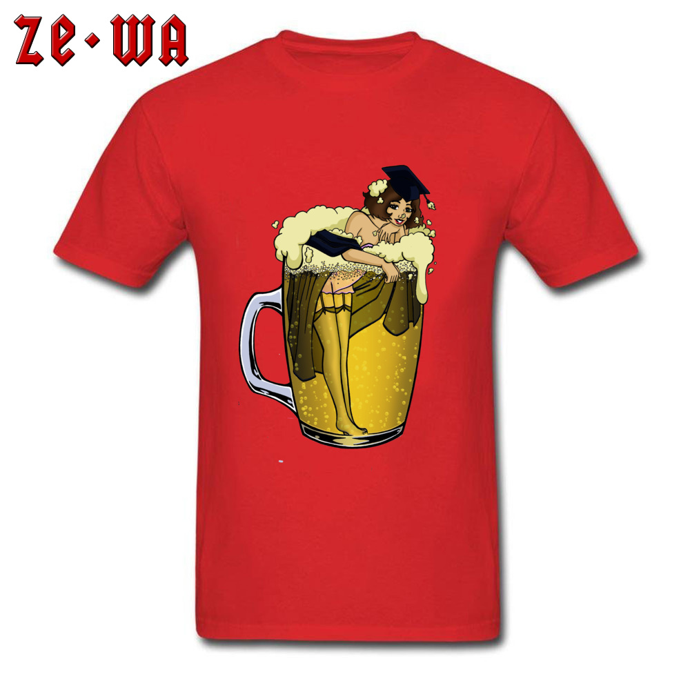 Man Top T-shirts pin up girl in beer Funny Tops Tees Pure Cotton Round Neck Short Sleeve Design T Shirt Summer/Autumn pin up girl in beer red