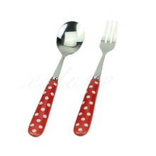 Hot Tableware Ceramic Stainless Steel Fork Soup Spoon Set Children Toddler Use