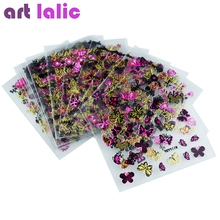Artlalic 24Pcs/Sheet Gold Foil Flowers Butterfly Pattern Stamping 3D Stickers Charms Bronzing Nails Art Decals