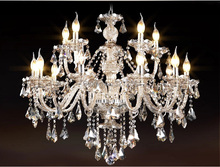New Luxury Chandeliers K9 Crystal Chandelier Lighting Hotle Hall lighting large 15 arms crystal chandeliers Living Room(China)