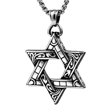 Punk Stylish Hexagon Star Totem Pendants Nacklaces 316L Stainless Steel Jewelry For Man Male Gifts BP1273(China)